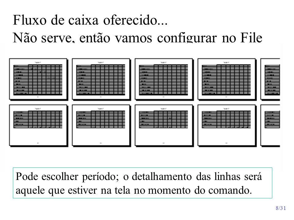 8/31 Fluxo de caixa oferecido... Não serve, então vamos configurar no File Pode escolher período; o detalhamento das linhas será aquele que estiver na