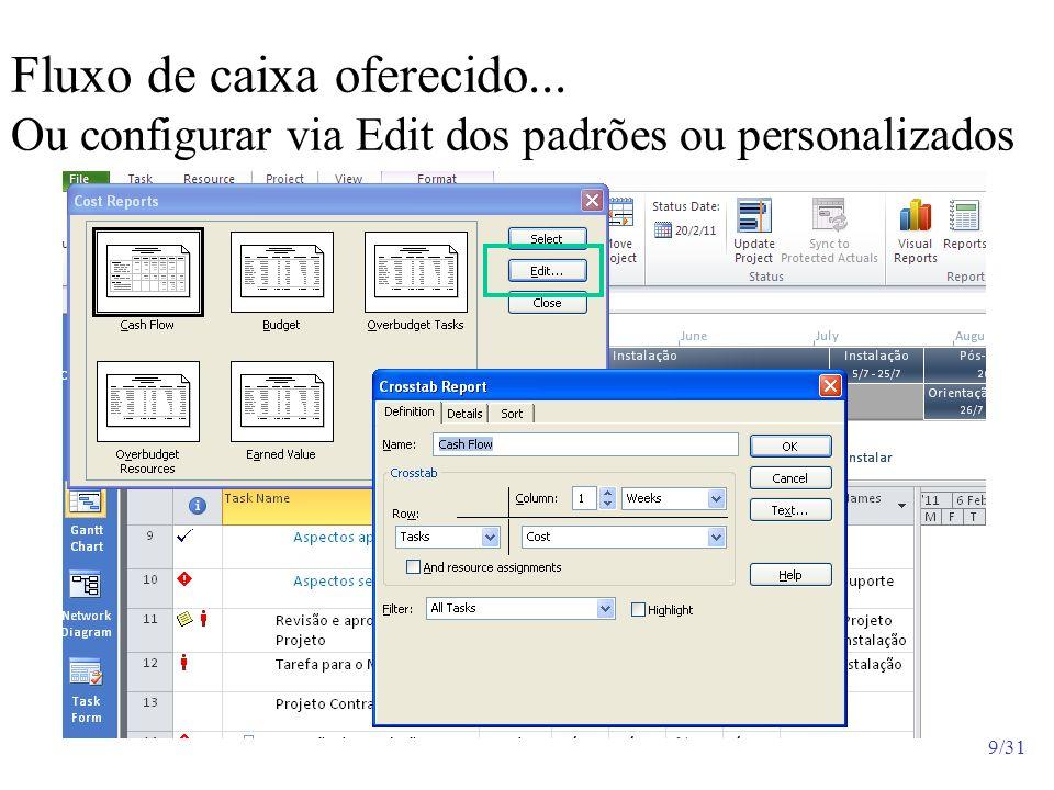 9/31 Fluxo de caixa oferecido... Ou configurar via Edit dos padrões ou personalizados