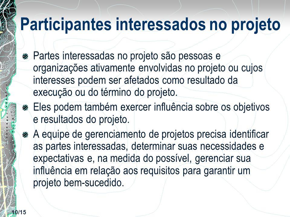 10/15 Participantes interessados no projeto Partes interessadas no projeto são pessoas e organizações ativamente envolvidas no projeto ou cujos intere