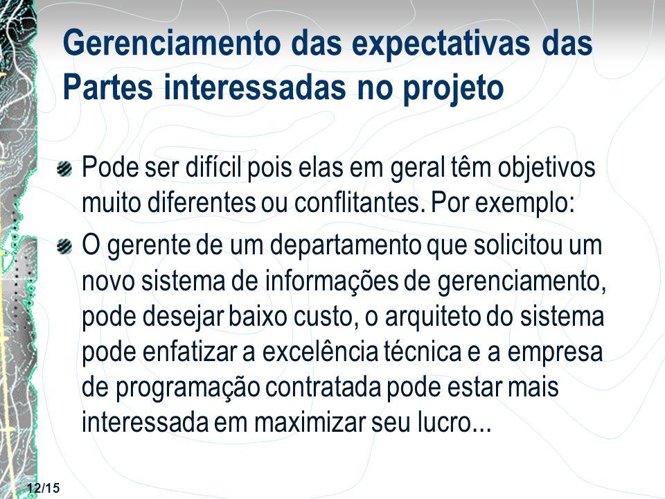12/15 Gerenciamento das expectativas das Partes interessadas no projeto Pode ser difícil pois elas em geral têm objetivos muito diferentes ou conflita