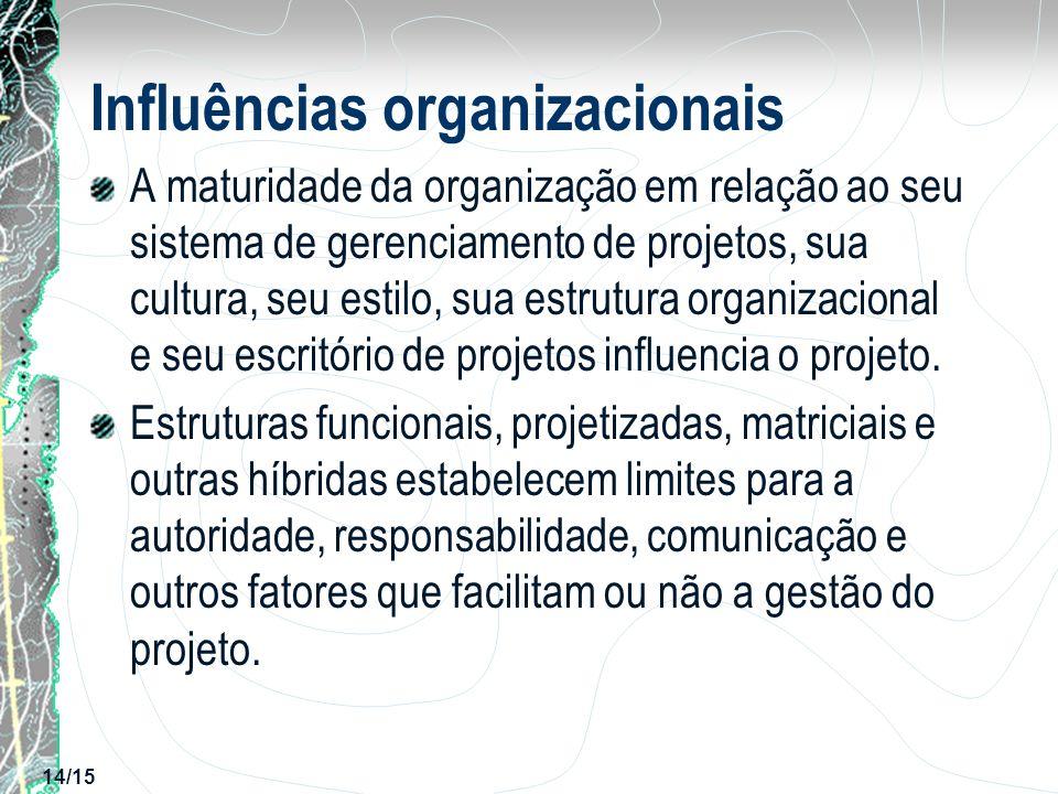 14/15 Influências organizacionais A maturidade da organização em relação ao seu sistema de gerenciamento de projetos, sua cultura, seu estilo, sua est