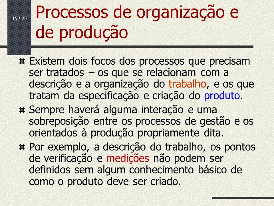 15 / 25 Processos de organização e de produção Existem dois focos dos processos que precisam ser tratados – os que se relacionam com a descrição e a o
