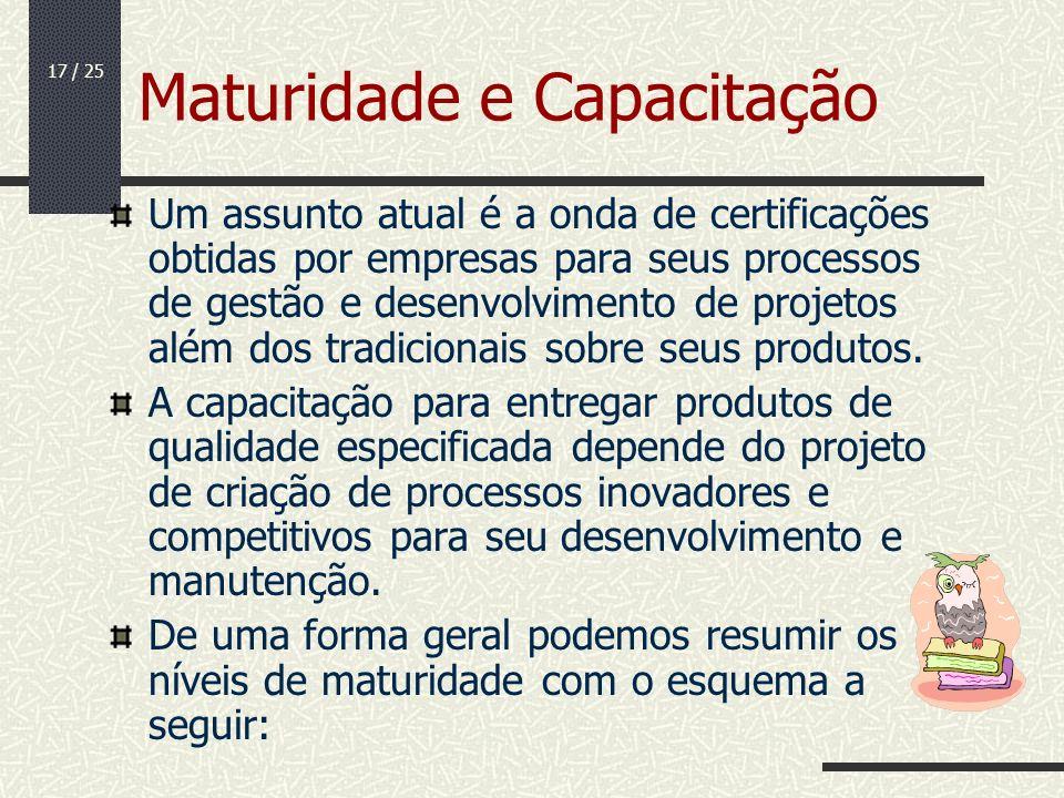 17 / 25 Maturidade e Capacitação Um assunto atual é a onda de certificações obtidas por empresas para seus processos de gestão e desenvolvimento de pr