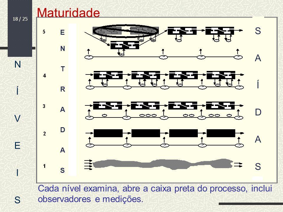 18 / 25 Cada nível examina, abre a caixa preta do processo, inclui observadores e medições. NÍVEISNÍVEIS ENTRADASENTRADAS SAÍDASSAÍDAS Maturidade