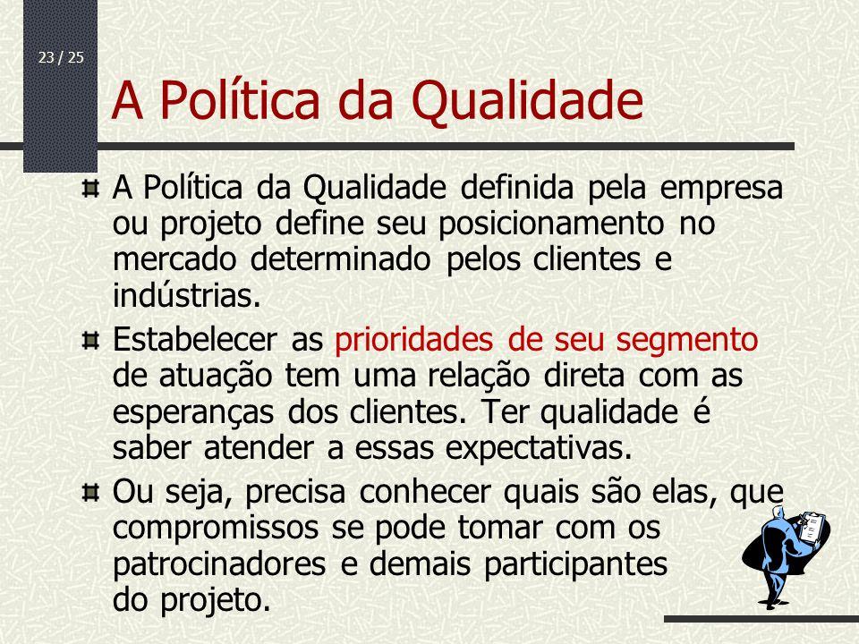 23 / 25 A Política da Qualidade A Política da Qualidade definida pela empresa ou projeto define seu posicionamento no mercado determinado pelos client