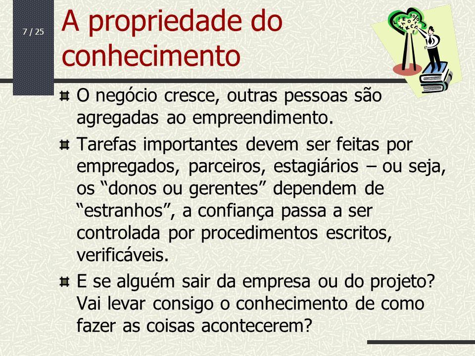 7 / 25 A propriedade do conhecimento O negócio cresce, outras pessoas são agregadas ao empreendimento. Tarefas importantes devem ser feitas por empreg