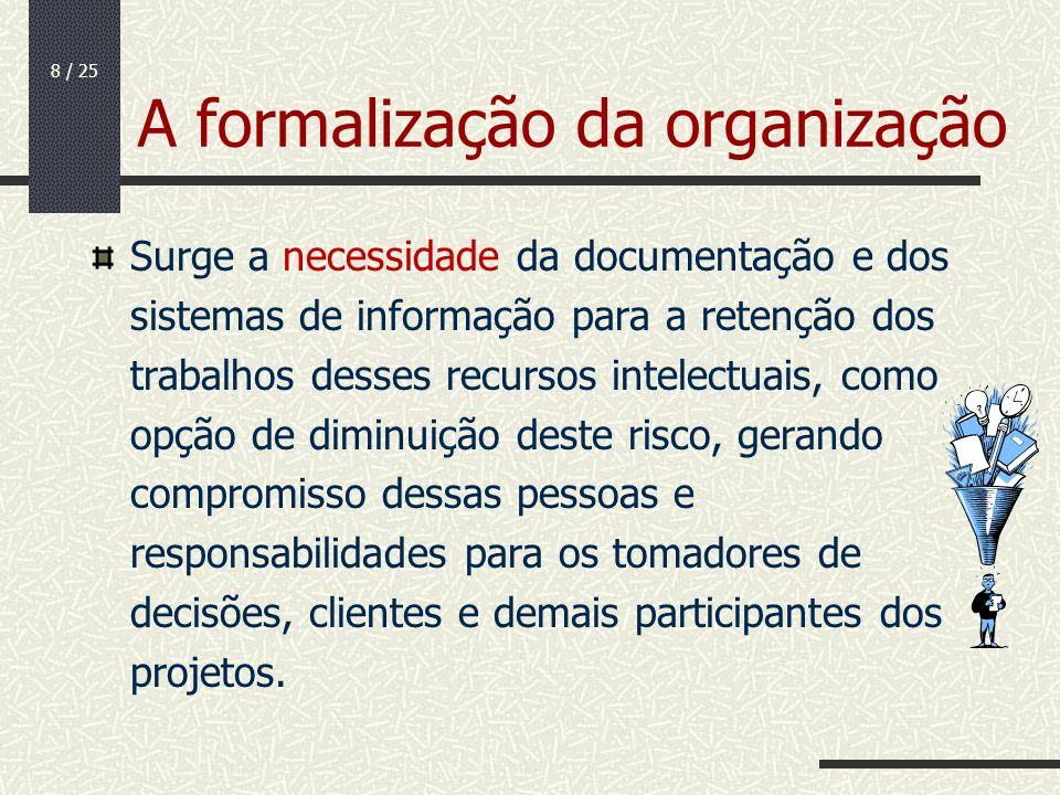 8 / 25 A formalização da organização Surge a necessidade da documentação e dos sistemas de informação para a retenção dos trabalhos desses recursos in