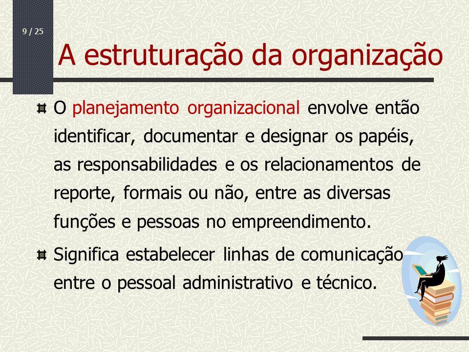 9 / 25 A estruturação da organização O planejamento organizacional envolve então identificar, documentar e designar os papéis, as responsabilidades e