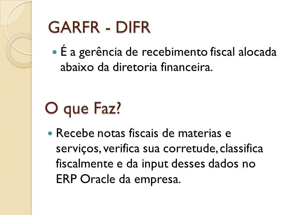 GARFR - DIFR É a gerência de recebimento fiscal alocada abaixo da diretoria financeira. O que Faz? Recebe notas fiscais de materias e serviços, verifi