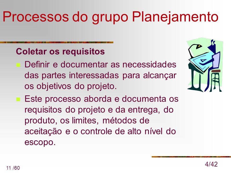11 /60 Processos do grupo Planejamento Coletar os requisitos Definir e documentar as necessidades das partes interessadas para alcançar os objetivos d