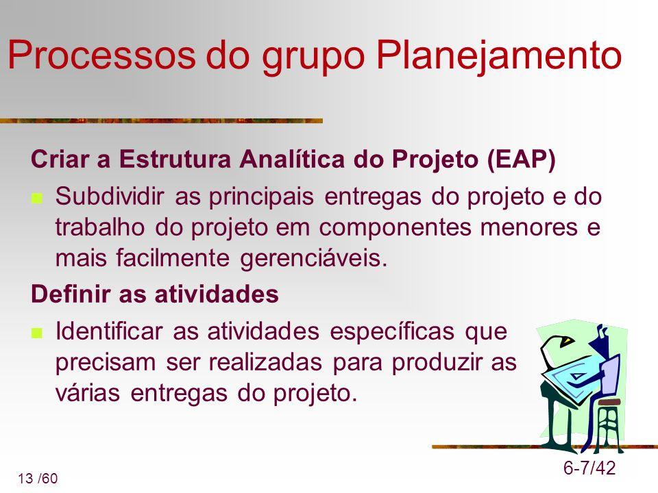 13 /60 Processos do grupo Planejamento Criar a Estrutura Analítica do Projeto (EAP) Subdividir as principais entregas do projeto e do trabalho do proj