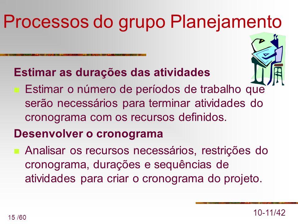 15 /60 Processos do grupo Planejamento Estimar as durações das atividades Estimar o número de períodos de trabalho que serão necessários para terminar