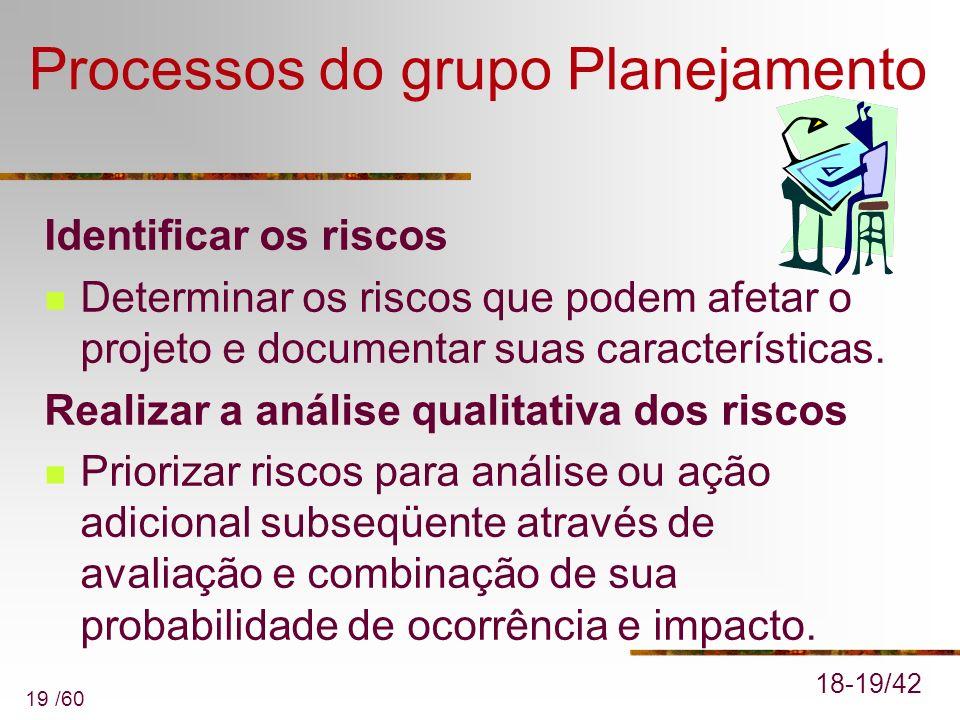 19 /60 Processos do grupo Planejamento Identificar os riscos Determinar os riscos que podem afetar o projeto e documentar suas características. Realiz