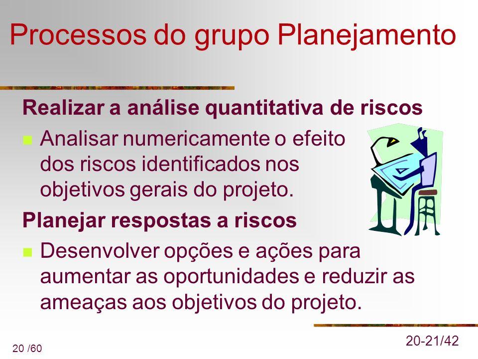 20 /60 Processos do grupo Planejamento Realizar a análise quantitativa de riscos Analisar numericamente o efeito dos riscos identificados nos objetivo
