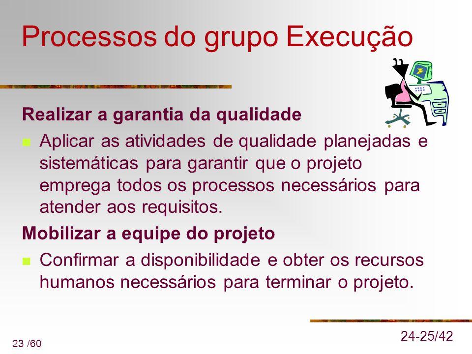 23 /60 Processos do grupo Execução Realizar a garantia da qualidade Aplicar as atividades de qualidade planejadas e sistemáticas para garantir que o p