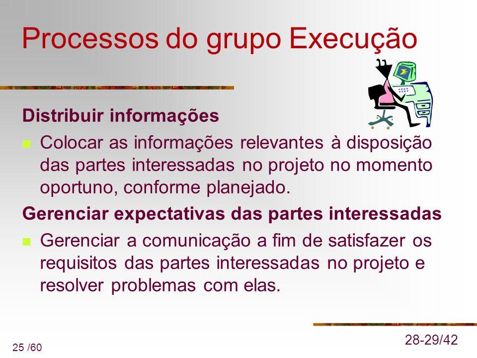 25 /60 Processos do grupo Execução Distribuir informações Colocar as informações relevantes à disposição das partes interessadas no projeto no momento