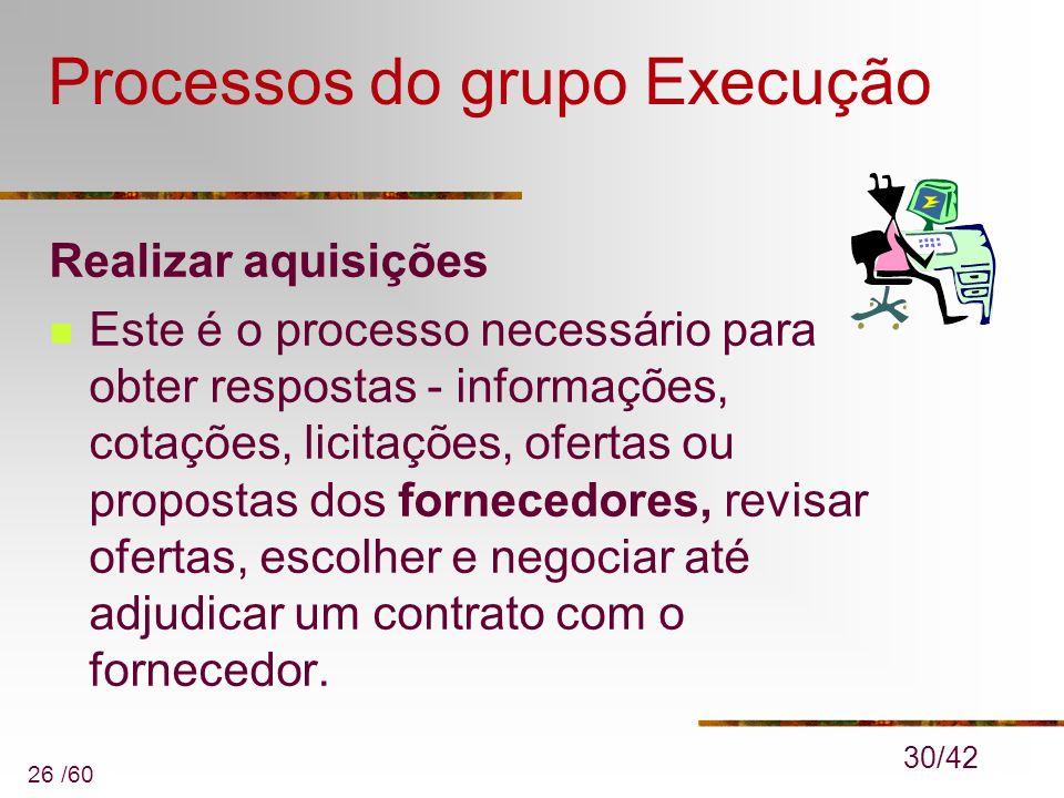 26 /60 Processos do grupo Execução Realizar aquisições Este é o processo necessário para obter respostas - informações, cotações, licitações, ofertas