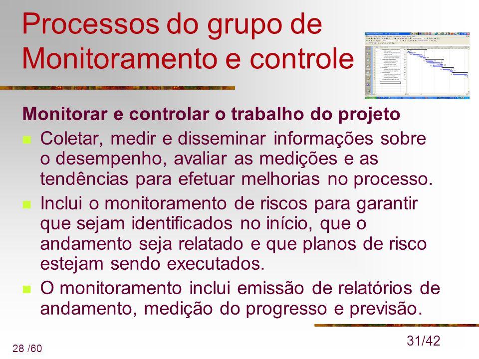 28 /60 Processos do grupo de Monitoramento e controle Monitorar e controlar o trabalho do projeto Coletar, medir e disseminar informações sobre o dese