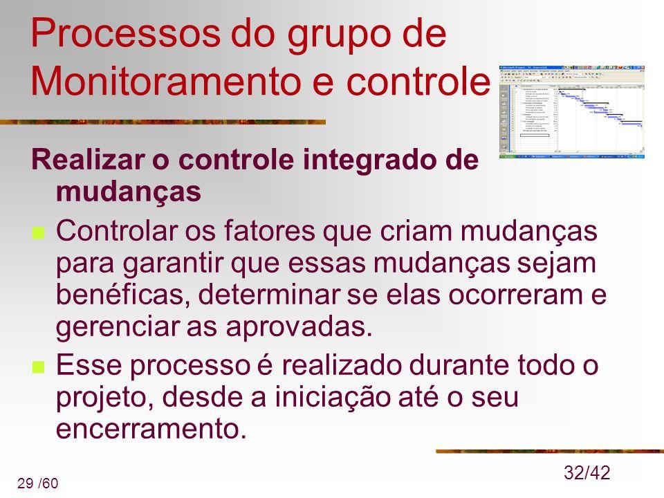 29 /60 Processos do grupo de Monitoramento e controle Realizar o controle integrado de mudanças Controlar os fatores que criam mudanças para garantir