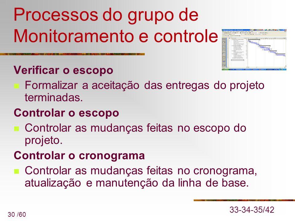 30 /60 Processos do grupo de Monitoramento e controle Verificar o escopo Formalizar a aceitação das entregas do projeto terminadas. Controlar o escopo