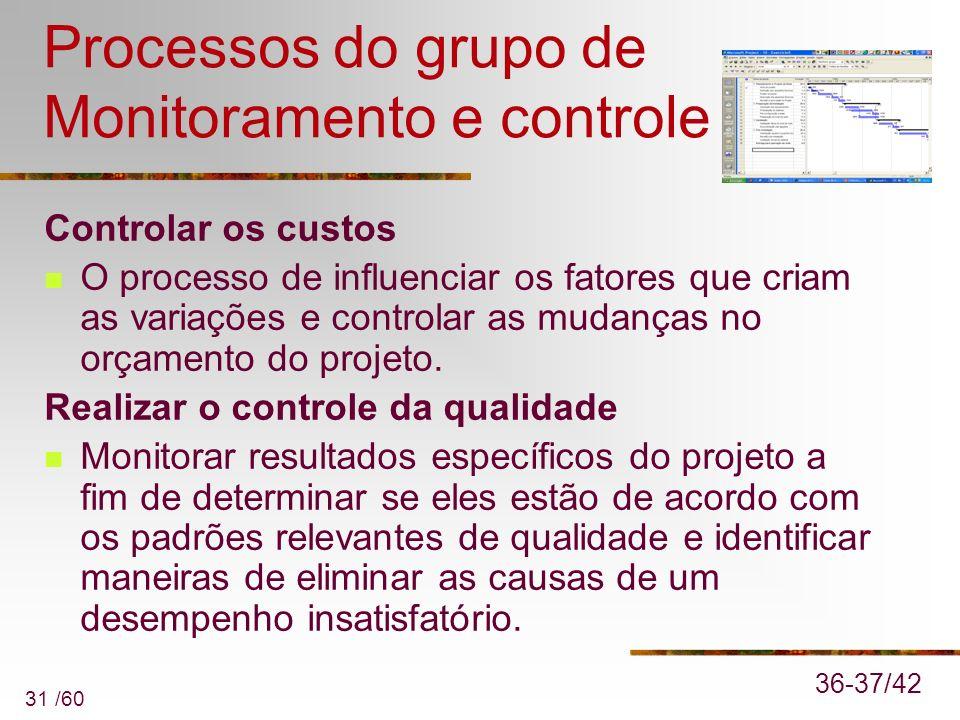 31 /60 Processos do grupo de Monitoramento e controle Controlar os custos O processo de influenciar os fatores que criam as variações e controlar as m