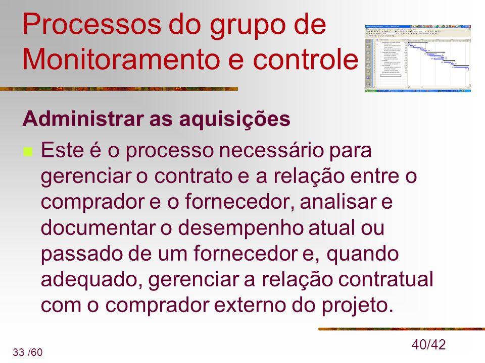 33 /60 Processos do grupo de Monitoramento e controle Administrar as aquisições Este é o processo necessário para gerenciar o contrato e a relação ent