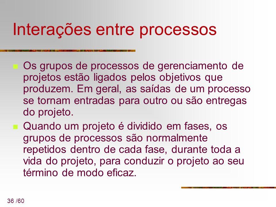 36 /60 Interações entre processos Os grupos de processos de gerenciamento de projetos estão ligados pelos objetivos que produzem. Em geral, as saídas