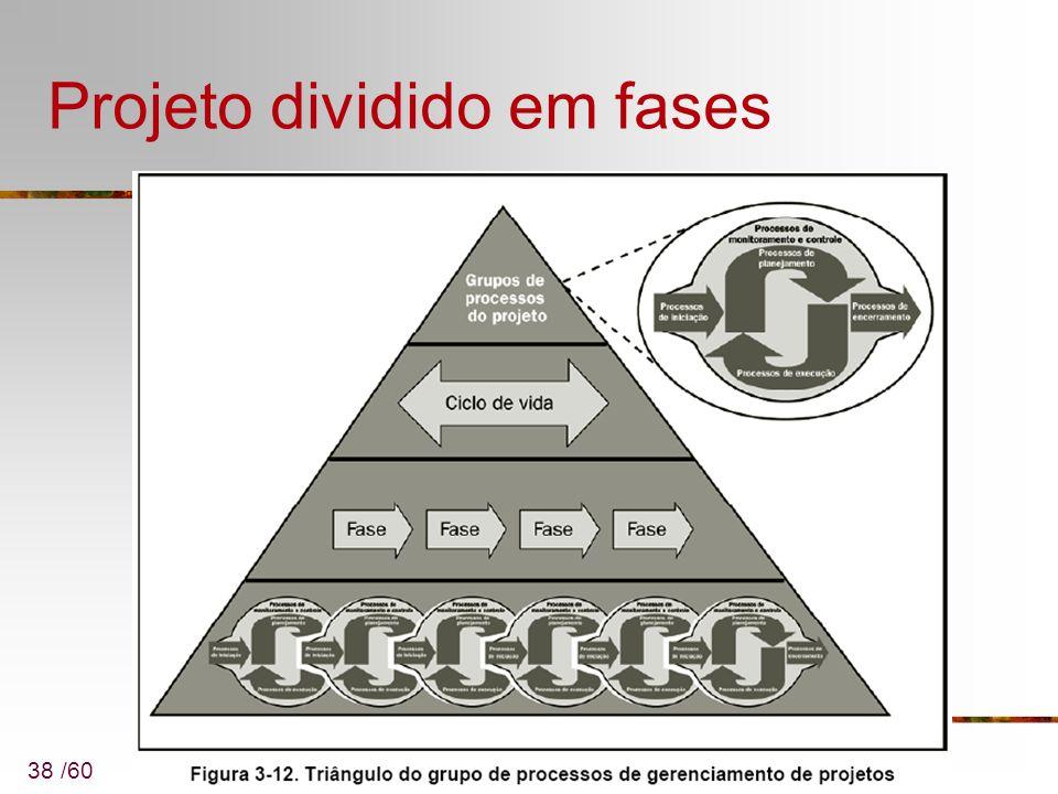 38 /60 Projeto dividido em fases