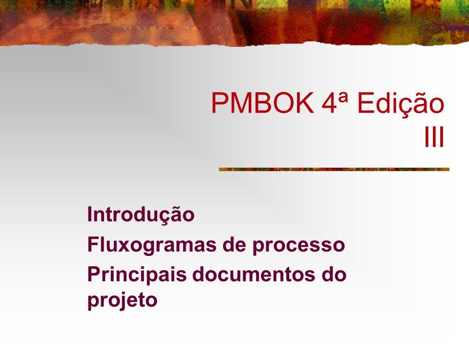 PMBOK 4ª Edição III Introdução Fluxogramas de processo Principais documentos do projeto