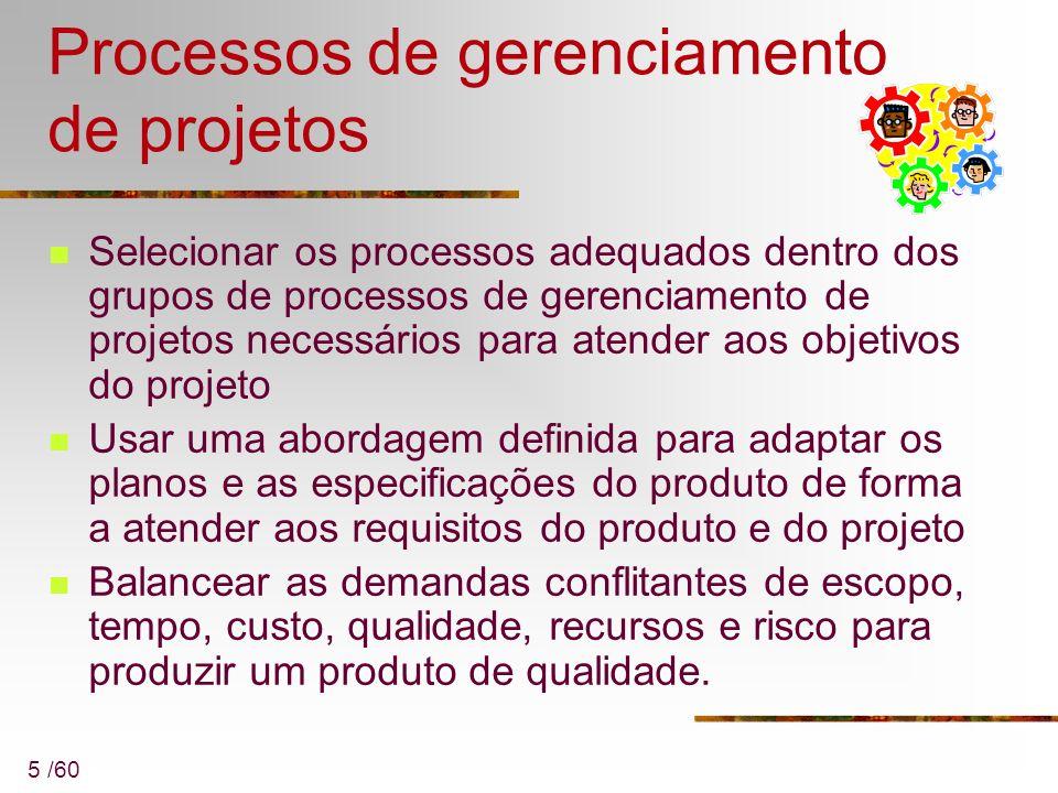 5 /60 Processos de gerenciamento de projetos Selecionar os processos adequados dentro dos grupos de processos de gerenciamento de projetos necessários