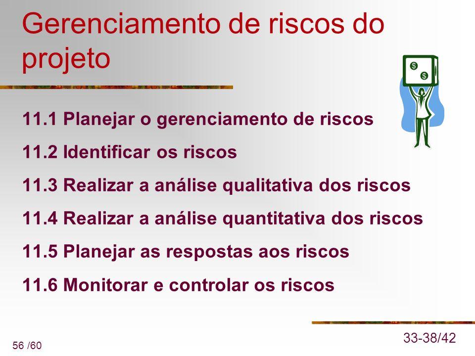 56 /60 Gerenciamento de riscos do projeto 11.1 Planejar o gerenciamento de riscos 11.2 Identificar os riscos 11.3 Realizar a análise qualitativa dos r