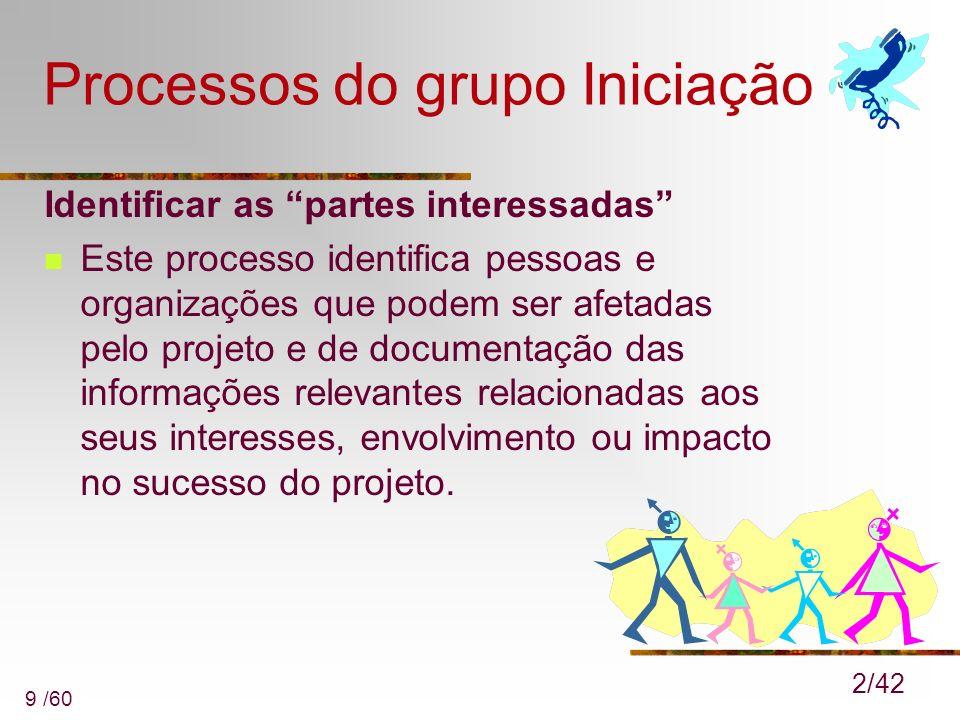 9 /60 Processos do grupo Iniciação Identificar as partes interessadas Este processo identifica pessoas e organizações que podem ser afetadas pelo proj
