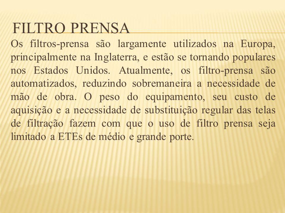FILTRO PRENSA Os filtros-prensa são largamente utilizados na Europa, principalmente na Inglaterra, e estão se tornando populares nos Estados Unidos. A