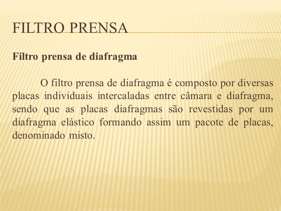 FILTRO PRENSA Filtro prensa de diafragma O filtro prensa de diafragma é composto por diversas placas individuais intercaladas entre câmara e diafragma