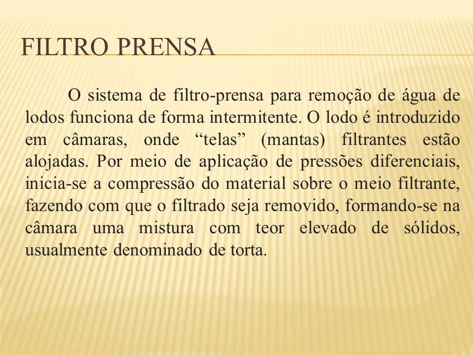 FILTRO PRENSA Os filtros-prensa são largamente utilizados na Europa, principalmente na Inglaterra, e estão se tornando populares nos Estados Unidos.