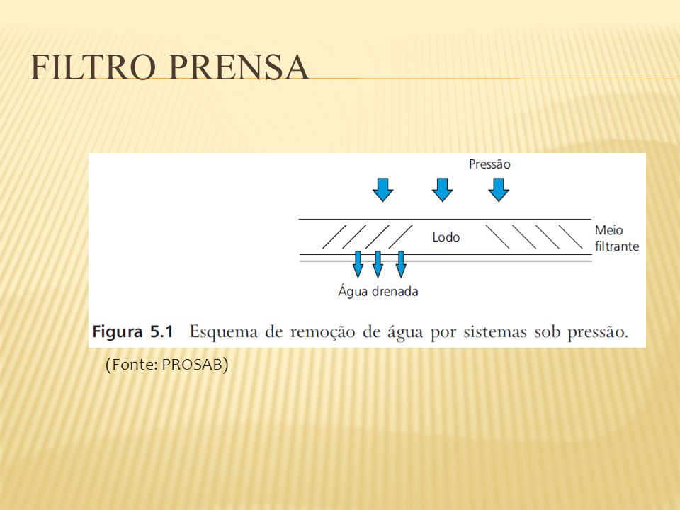 PRENSA DESAGUADORA Tipo de lodo Carga hidráuli ca(m³/h) Carga de sólidos (kg/h) Concentraçã o de sólidos no afluente (% ST) Conc.