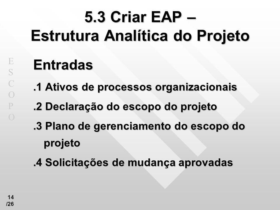 ESCOPOESCOPO 14 /26 5.3 Criar EAP – Estrutura Analítica do Projeto Entradas.1 Ativos de processos organizacionais.2 Declaração do escopo do projeto.3