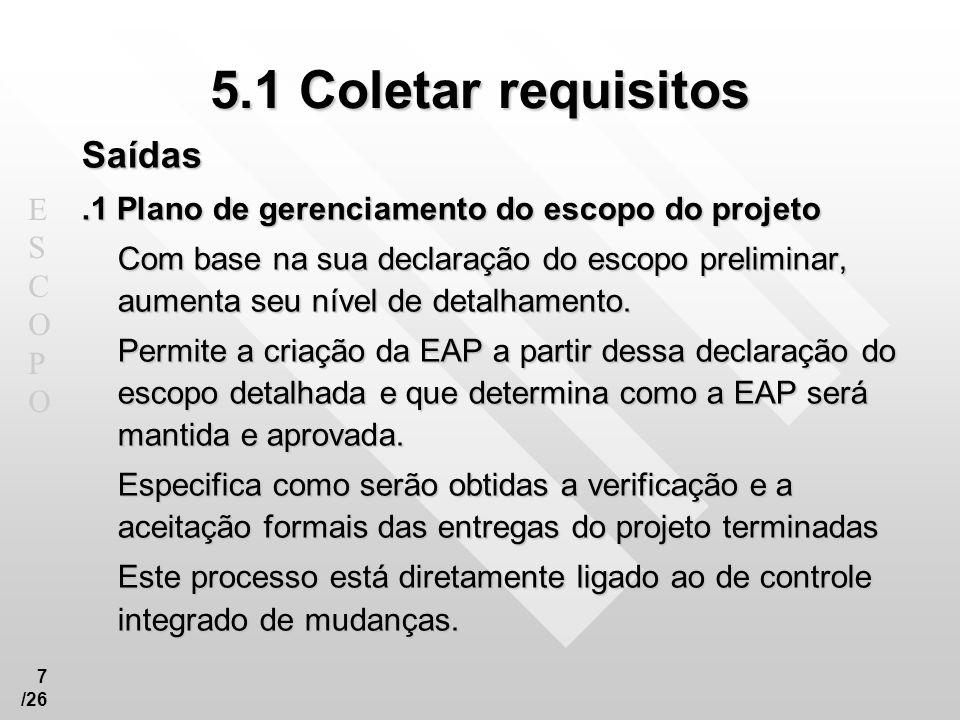 ESCOPOESCOPO 18 /26 5.3 Criar EAP – Estrutura Analítica do Projeto Saídas.1 Declaração do escopo do projeto (atualizações).2 Estrutura analítica do projeto.3 Dicionário da EAP.4 Linha de base do escopo.5 Plano de gerenciamento do escopo do projeto (atualizações).6 Mudanças solicitadas