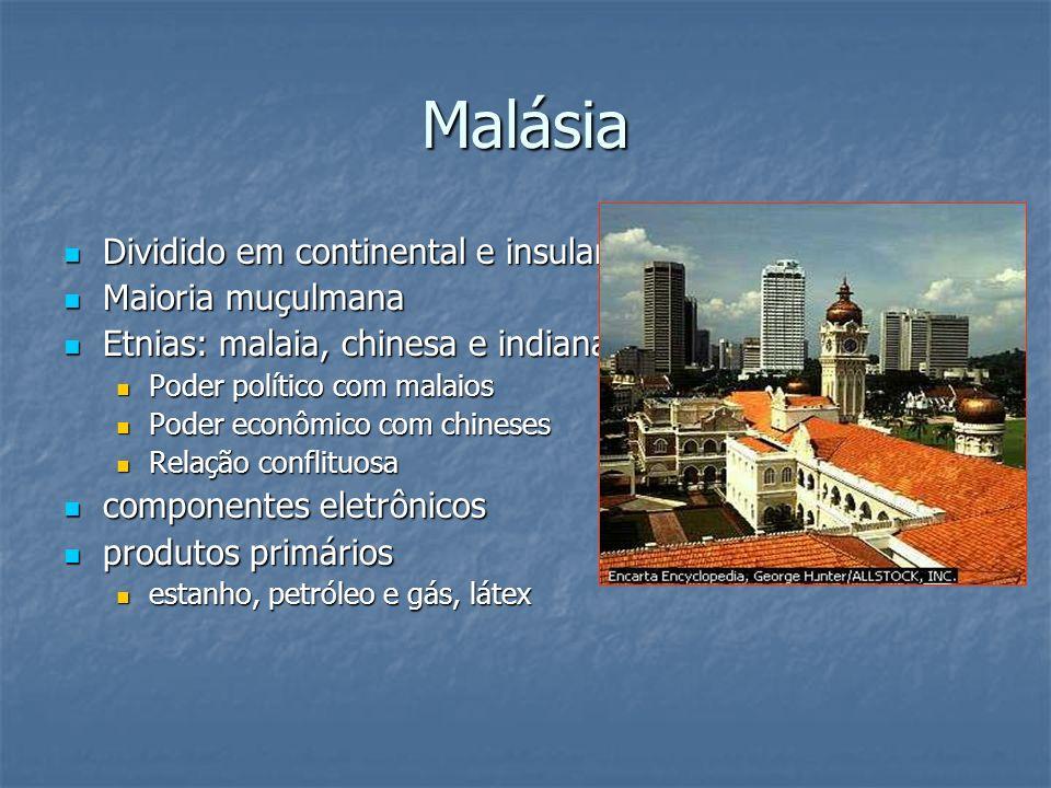 Malásia Dividido em continental e insular Dividido em continental e insular Maioria muçulmana Maioria muçulmana Etnias: malaia, chinesa e indiana Etni