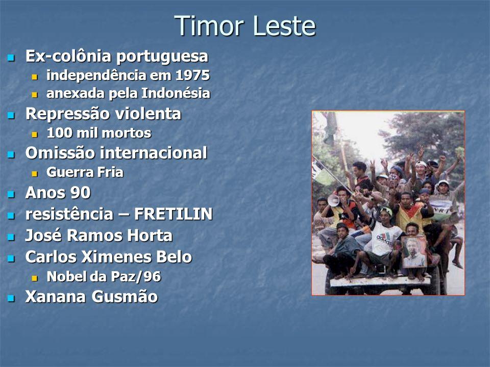 Timor Leste Ex-colônia portuguesa Ex-colônia portuguesa independência em 1975 independência em 1975 anexada pela Indonésia anexada pela Indonésia Repr