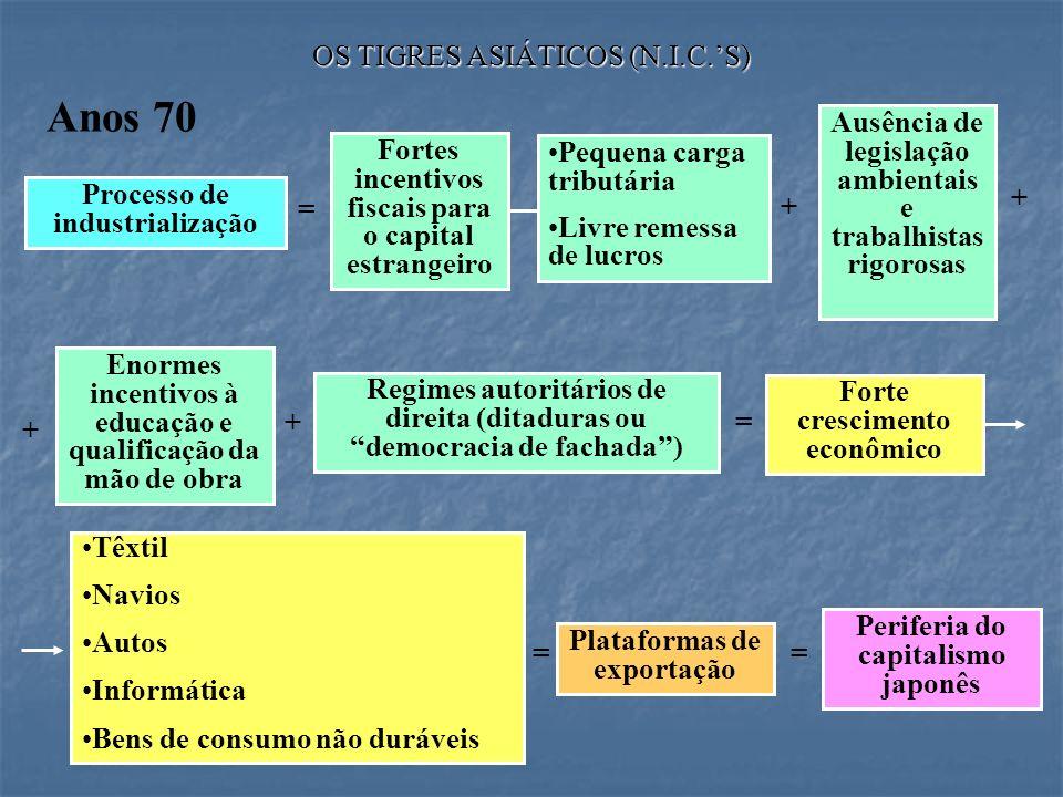 OS TIGRES ASIÁTICOS (N.I.C.S) Anos 70 = + + Ausência de legislação ambientais e trabalhistas rigorosas + = Processo de industrialização Fortes incenti