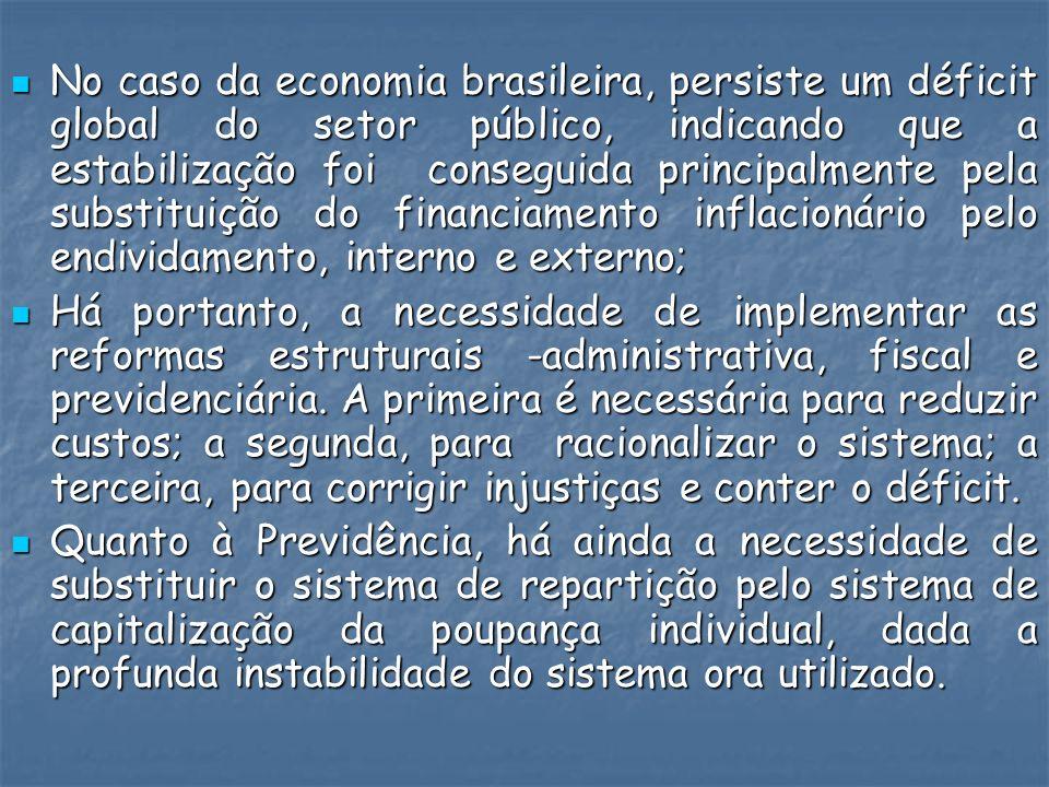 No caso da economia brasileira, persiste um déficit global do setor público, indicando que a estabilização foi conseguida principalmente pela substitu