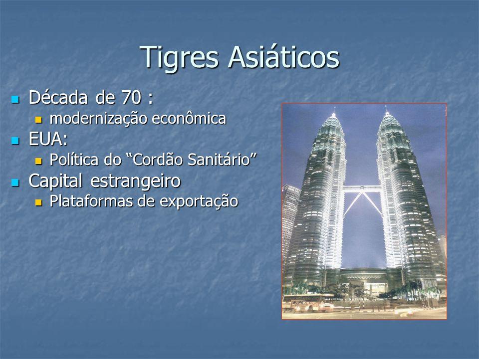 Tigres Asiáticos Década de 70 : Década de 70 : modernização econômica modernização econômica EUA: EUA: Política do Cordão Sanitário Política do Cordão