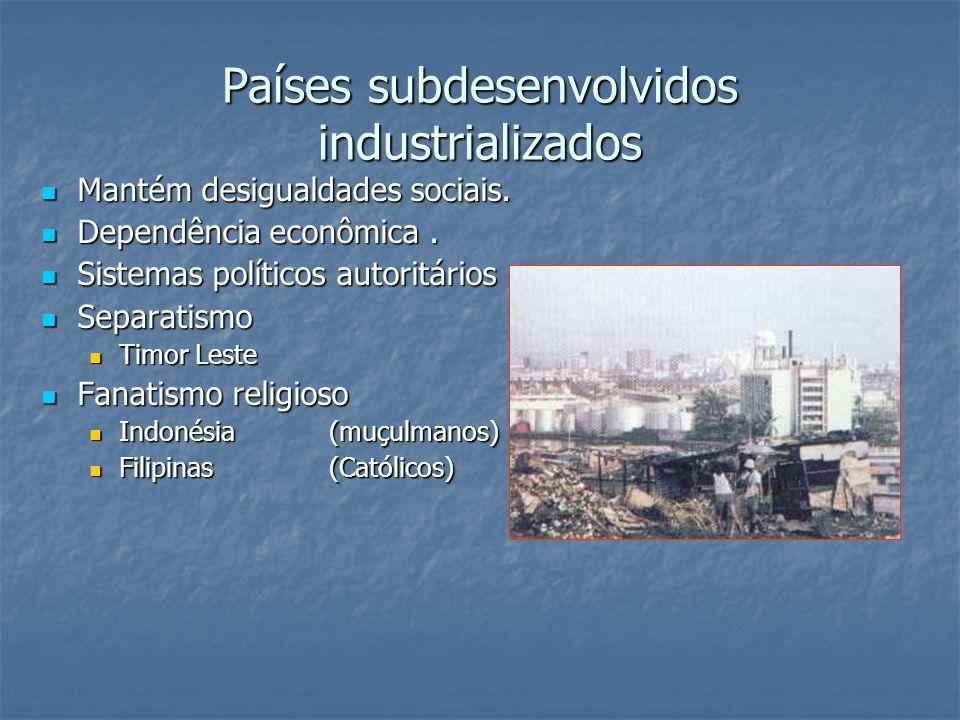 Países subdesenvolvidos industrializados Mantém desigualdades sociais. Mantém desigualdades sociais. Dependência econômica. Dependência econômica. Sis