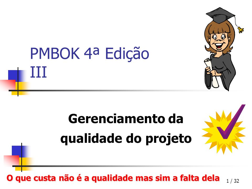 1 / 32 PMBOK 4ª Edição III Gerenciamento da qualidade do projeto O que custa não é a qualidade mas sim a falta dela