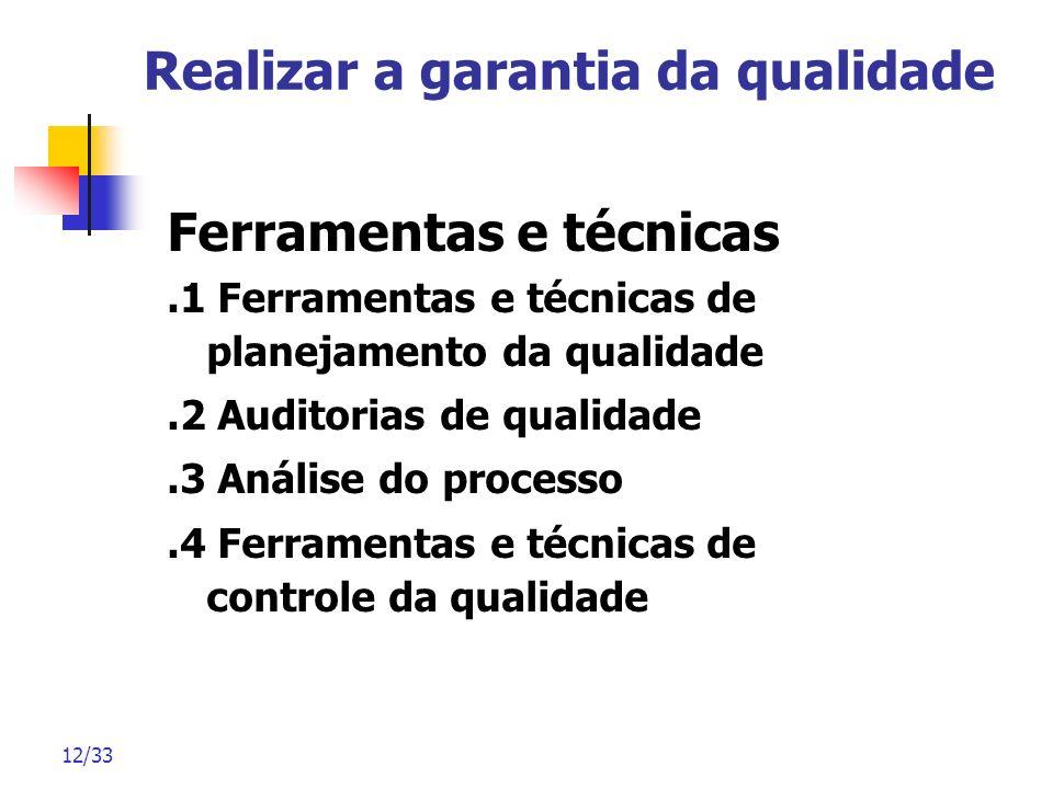 12/33 Realizar a garantia da qualidade Ferramentas e técnicas.1 Ferramentas e técnicas de planejamento da qualidade.2 Auditorias de qualidade.3 Anális