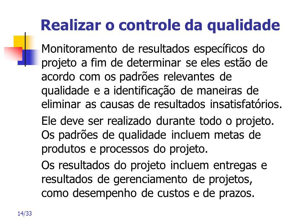 14/33 Realizar o controle da qualidade Monitoramento de resultados específicos do projeto a fim de determinar se eles estão de acordo com os padrões r