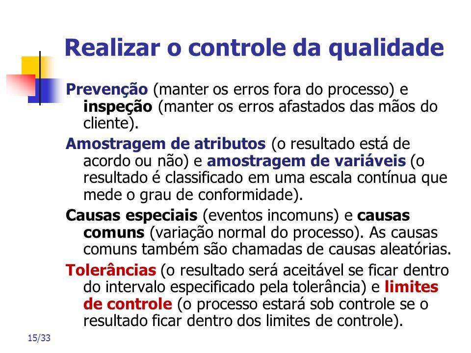 15/33 Realizar o controle da qualidade Prevenção (manter os erros fora do processo) e inspeção (manter os erros afastados das mãos do cliente). Amostr