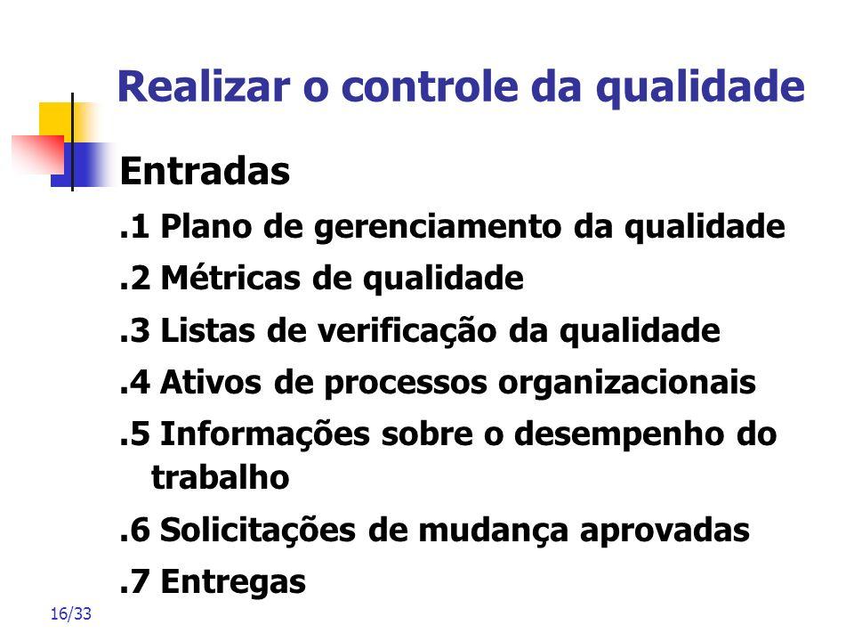 16/33 Realizar o controle da qualidade Entradas.1 Plano de gerenciamento da qualidade.2 Métricas de qualidade.3 Listas de verificação da qualidade.4 A