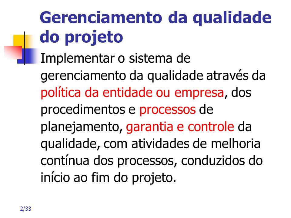 2/33 Gerenciamento da qualidade do projeto Implementar o sistema de gerenciamento da qualidade através da política da entidade ou empresa, dos procedi